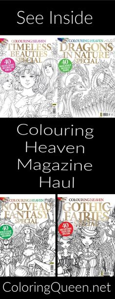 Colouring Heaven magazine is published by Anthem publishing based in the UK. There are 13 editions each year as well as special annuals Dragons, Colouring Heaven, Gothic, Haul, Magazine, Fantasy, Book Reviews, Coloring Books, Queen