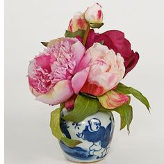 Small Magenta Peony Bundle in Blue and White pot by Susabelle