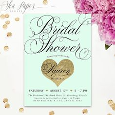 lauren bridal shower invitation mint green gold glitter heart black classic preppy modern