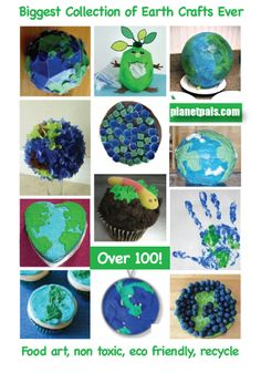 The best collection of Earthday Crafts Ever! Downloads, Food Art, Globe Crafts, Non-toxic Crafts & Recycle Crafts