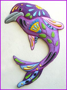 Painted Metal Dolphin Wall Hanging, Metal Decor, Whimsical Art, Poolside Decor, Funky Art, Metal Wall Art, Nautical Decor - J-458-PU by TropicAccents on Etsy