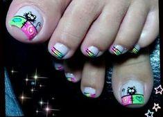 Resultado de imagen para uñas decoradas pies Heart Nail Designs, Cute Nail Art Designs, Toe Nail Designs, Pedicure Designs, Nail Polish Art, Toe Nail Art, Cute Toe Nails, Pretty Nails, Painted Toe Nails