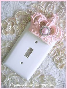 Pink Princess Crown Wall Plate Switch Plate Cover Light Switch Cover Custom Color Choices Girls Room Nursery Decor Shabby French Chic Decor