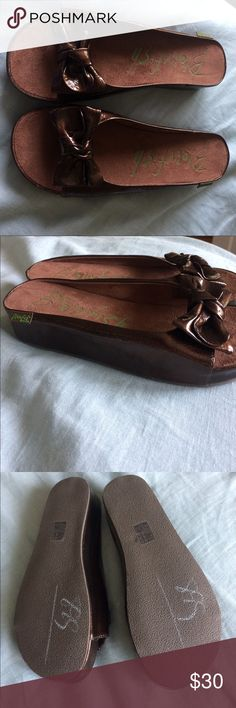 Blowfish brown slides 7.5 Perfect condition but for chalk on the bottom, no box. Blowfish Shoes Sandals
