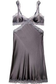 Stella McCartneyClara Whispering lace-trimmed stretch-silk satin chemise