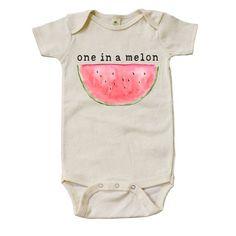 Organic One In A Melon Onesie by MiniAndMeep on Etsy