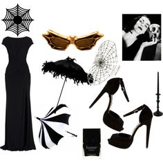 Vampira by tombstone-grrrl on Polyvore featuring Elie Saab, Windsor Smith, Ayaka Nishi, Butter London and Branca