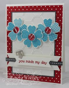 """Stamps: Flower Show, A Dozen Thoughts Paper: Basic Gray, Whisper White, Real Red, Brights Patterned DSP Ink: Tempting Turquoise, Real Red Accessories: Pansy Punch, Hexagon Punch (to make """"flag"""" ends), Itty Bitty Punch Pack (Circle), Honeycomb Textured Impressions Embossing Folder, Vintage Faceted Designer Buttons, Hardware Clips Essentials, Basic Gray Stitched Grosgrain Ribbo"""