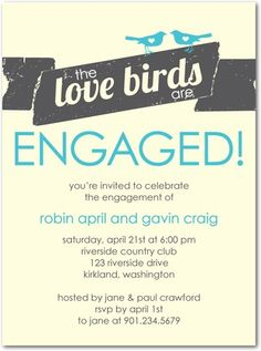Signature Ecru Engagement Party Invitations Love Bird Banner - Front : Citrus