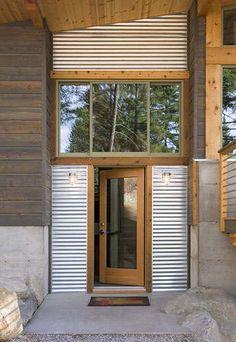 Wintergreen Cabin, by Balance Associates Architects. Wintergreen Cabin, by Balance Associates Architects. Exterior Siding, Exterior Design, Garage Design, Cabin Design, House Design, Modern Entry, Metal Siding, House Siding, House Colors
