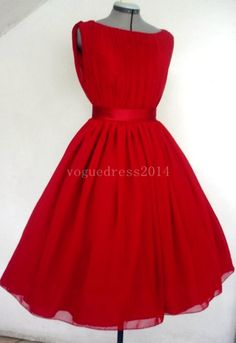 LOVE this! An Adorable Red Chiffon 50s Cocktail Dress Boat Neck Custom. $265.00, via Etsy.