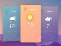 Weather App by Artur Lyakhiv Iphone App Design, App Ui Design, Mobile App Design, User Interface Design, Mobile Ui, Application Meteo, Weather Application, Android Material Design, App Background