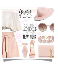 """""""PASTEL / SKIRTS UNDER 50"""" by fashionismyprofession8 ❤ liked on Polyvore featuring Lack of Color, Yves Saint Laurent, BaubleBar, Miss Selfridge, Steve Madden, Linda Farrow, Pink, pastel, pastels and under50"""