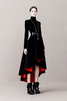 The hint of red underneath is perfect and those shoes! those shoes! | Alexander McQueen Pre-Fall 2013