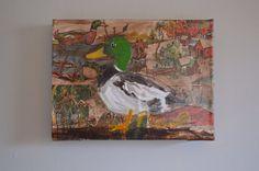 Duck mallard green feathers bird oil painting on illustrations on Etsy, $125.00