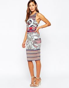 14164771ad ASOS Clean Placed Mixed Floral Print Scuba Midi Dress at asos.com
