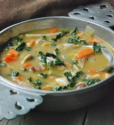 Chicken Soup with Kale, Garlic & Sweet Potatoes (Paleo, AIP-Friendly) Healthy Chicken Soup, Paleo Soup, Chicken Soup Recipes, Vegetarian Chicken, Kale Recipes, Cooking Recipes, Healthy Recipes, Healthy Soups, I Love Food