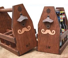 Personalized Mustache Six Pack Wooden 12oz by ReImagineUpCycling #movember #woodentote #beercaddy