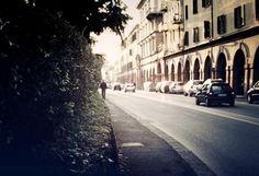 Город, автомобили, улица, тротуар, дорога, дома