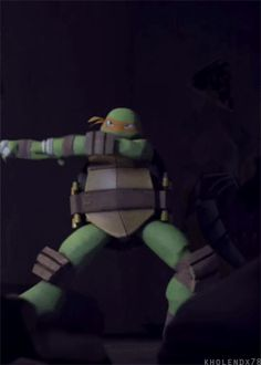 Teenage Mutant Rider Turtle - Mikey performs Kamen Rider 1's transformation pose. Showing minor influence in Western shows.  (Justice K, 2012)