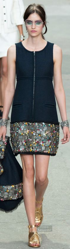 The chic style of French brand CHANEL by designer Karl Lagerfeld, Spring 2015.