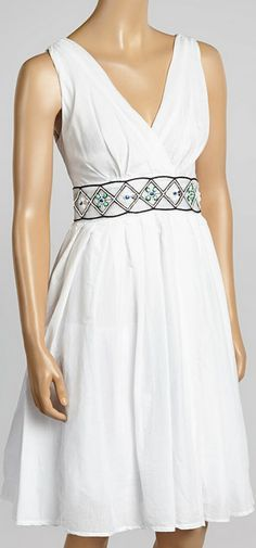 White & Green Surplice Dress