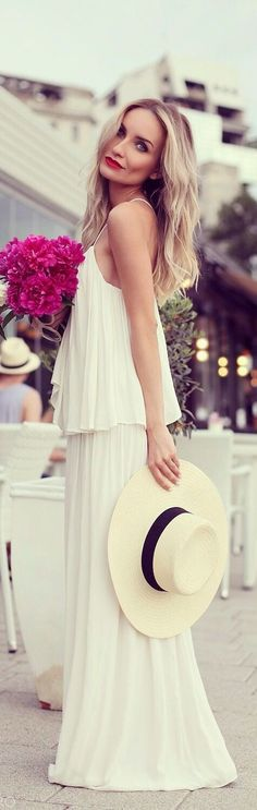 Classic White Dress with Hat | Best Street Evening Look # Love dress