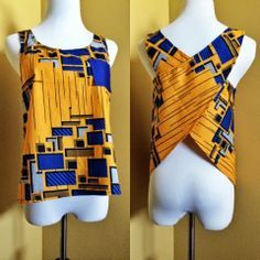 Cross-Back Ankara Tank Top African Print Clothing, African Print Dresses, African Fashion Dresses, African Dress, African Print Shirt, African Inspired Fashion, African Print Fashion, Africa Fashion, Fashion Prints