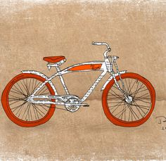 Retro bike wall art, Orange bicycle print, I love my bike heart, Vintage bicycle print, Bike poster, 12x16 inch art print by Orange Optimist