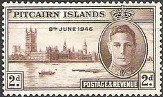 King George VI and Houses of Parliament, UK (date of issue 1946-12-02) ||| #stamps #Pitcairn