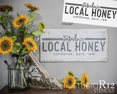 """Farmhouse Local Honey"" is a bee themed, farmhouse style stencil by StudioR12. This stencil can be used to create the perfect DIY farmhouse decor for your kitchen or living room! Bees and honey decor make a great addition to your home. Features trendy white space and comes in three sizes that are designed to help you create DIY decor for small spaces or large spaces. This rectangular word art template can be used to sweeten your hive, aprons, pillows, walls, and create painted wood signs."