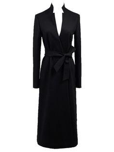Want! Longline Black Maxi Woolen Coat With Belt