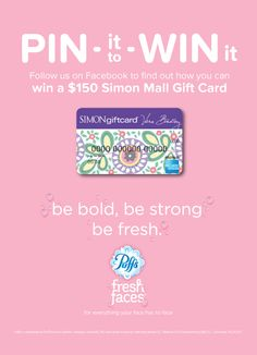 One of our absolute favorites, Puffs Fresh Faces, is giving away a $150 Simon Mall gift card. Click here to see how you can win. (Giveaway ends 10/23.) #giveaway #win