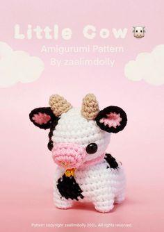 Diy Crochet Projects, Crochet Crafts, Yarn Crafts, Knitting Projects, Crochet Cow, Kawaii Crochet, Cute Crochet, Crochet Animal Patterns, Crochet Patterns Amigurumi