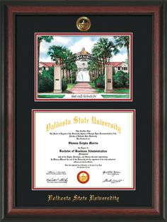 Valdosta State Diploma Frame - Rosewood - w/Watercolor - Black/Red – Professional Framing Company
