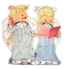 Cute Christmas Angels Singing Image Digital by SaltwaterTaffs