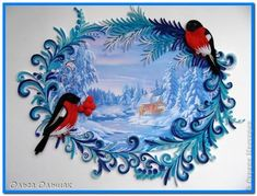 The painting mural drawing New Year Christmas winter of Paper Quilling band photo 1