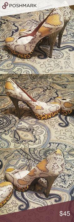 High heels Snake skin/leopard pattern Rachel Roy Shoes Heels