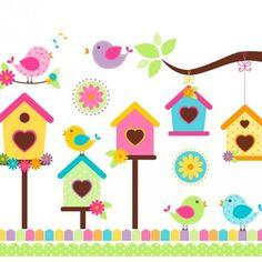 Cantando pássaros no estilo colorido