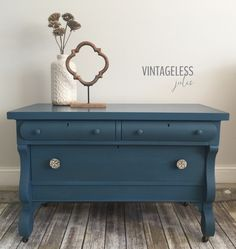 Bold and beautiful in blue empire dresser makeover.  Painted in Annie Sloan Aubusson blue chalk paint and dark waxed.