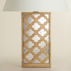 """Moroccan Lattice Mirror Table Lamp Base. Matches our bedspread, rectangular base is a better fit style and size wise.  6""""Wx3.5""""Lx16.5""""H.  $65"""