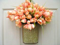 Spring Wreaths, Easter wreaths, Orange Peach Tulip Wreaths, Mothers Day Wreath Alternative by AWorkofHeartSA, $55.00