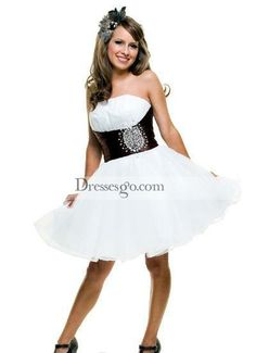 Homecoming Dresses Darling Strapless White & Brown Organza Cocktail Dress