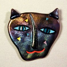 Signed 1980s Art Glass CAT Pin - Janet Kelman. One of the first pieces of original art I ever bought was a Janet Kelman fused glass puppy brooch
