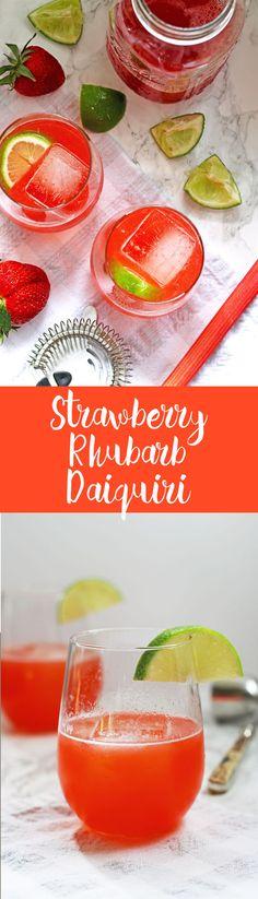 This strawberry rhubarb daiquiri recipe is the perfect spring cocktail! Plus, a recipe for homemade strawberry rhubarb simple syrup.   honeyandbirch.com