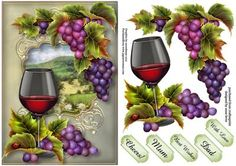 Red Wine Grapes On The Vine on Craftsuprint designed by Anne Lever - This lovely topper features a glass of red wine and grapes on the vine. It has decoupage and five greetings. The greetings are cheers!, mum, best wishes, dad and with love. - Now available for download!