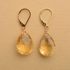 November Birthstone Earrings, Faceted Citrine Gemstone Earrings, Healing Gemstone Jewelry, Golden Yellow Gemstone Earrings
