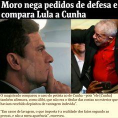 Moro nega pedidos de defesa e compara Lula a Cunha [Poder Folha de S.Paulo] http://www1.folha.uol.com.br/poder/2017/07/1902166-moro-nega-pedidos-de-defesa-e-compara-lula-a-cunha.shtml ②⓪①⑦ ⓪⑦ ①⑨ #LulaNaCadeia