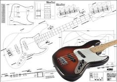 Plan of Fender Jazz Bass 4 String - Full Scale Print, 2016 Amazon Hot New Releases Bass Guitars  #Musical-Instruments