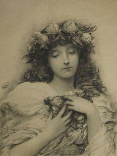 Roses. After Herkomer, CVO, RA, RWS Sir Hubert von 1849-1914.    Herkomergravure.
